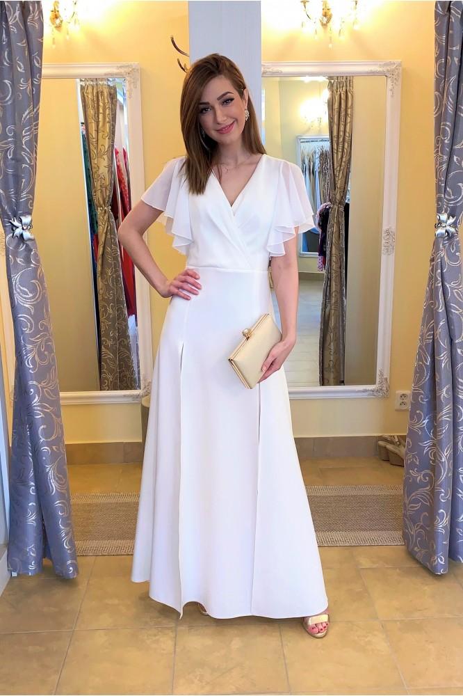 Dlhé biele šaty so šifónovým rukávom pre nevestu