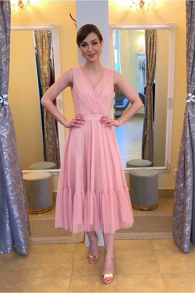 Ružové spoločenské midi šaty s tylom