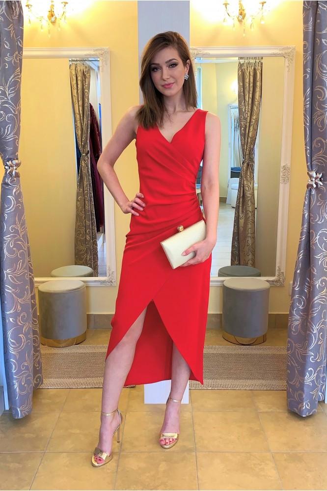 Červené spoločenské midi šaty s riasením