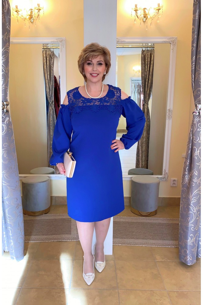 Spoločenské modré áčkové šaty s čipkou