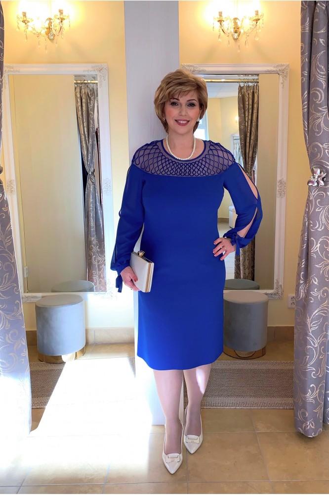 Spoločenské modré puzdrové šaty s rukávom