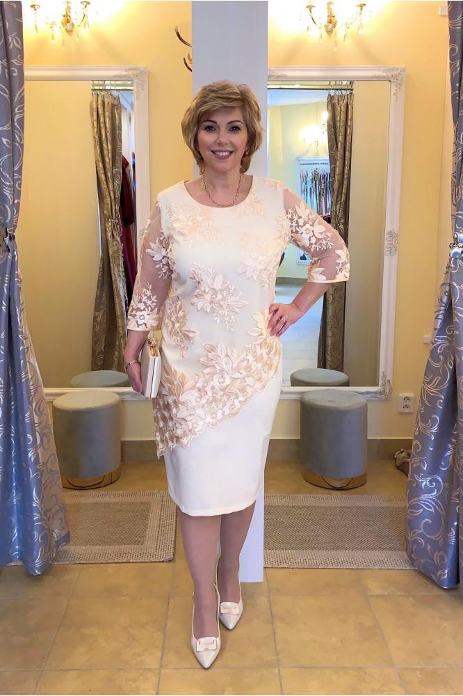 Béžovo-zlaté elegantné šaty svadobná mama