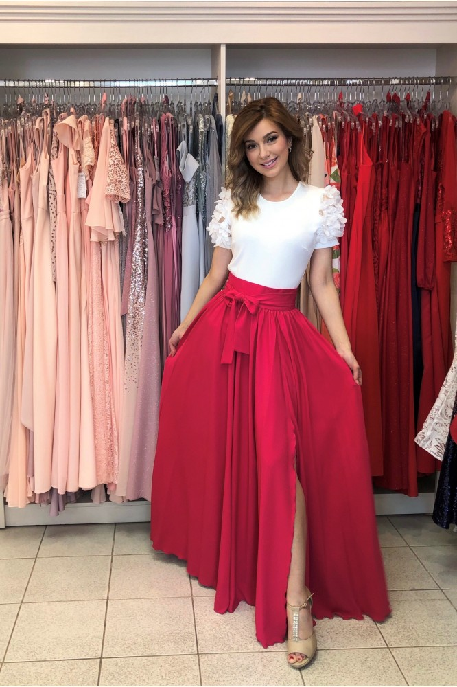 Cyklamenová letná dlhá sukňa s rozparkom