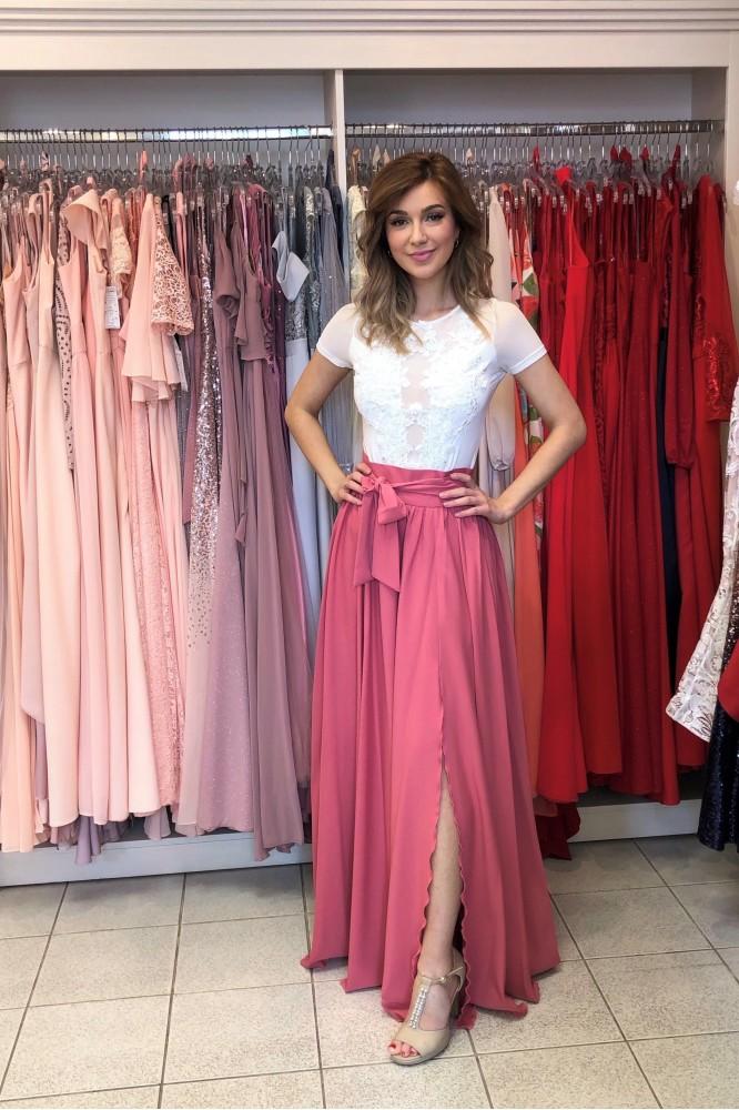 Tehlovo-ružová dlhá sukňa s rozparkom