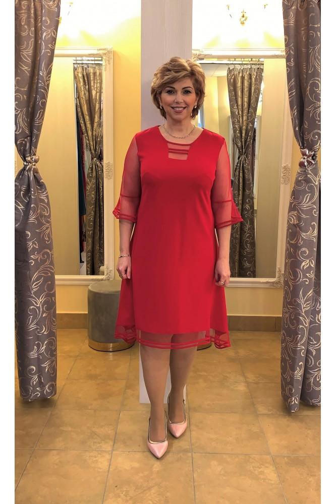 Krátke malinové šaty s padavou áčkovou sukňou