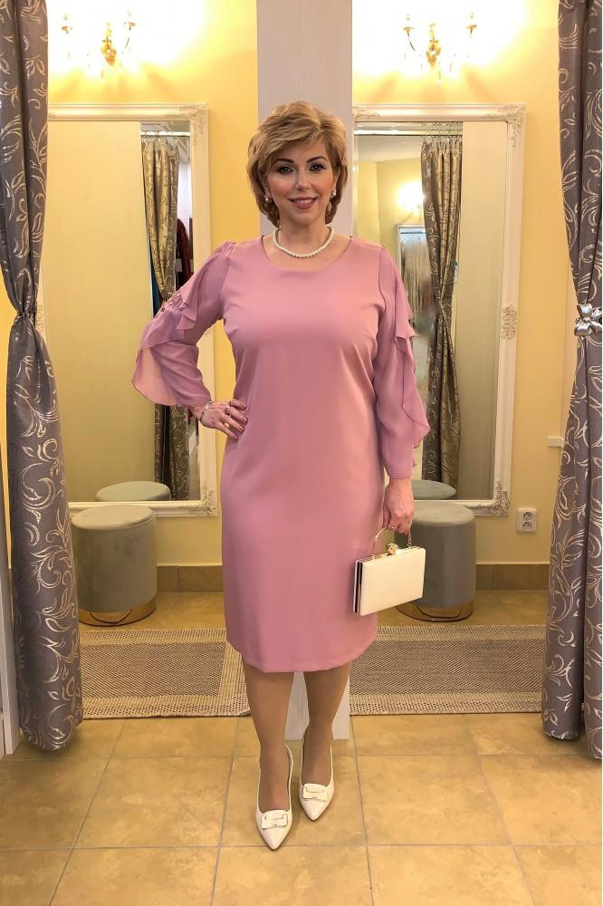 Krátke ružové spoločenské šaty s rukávom