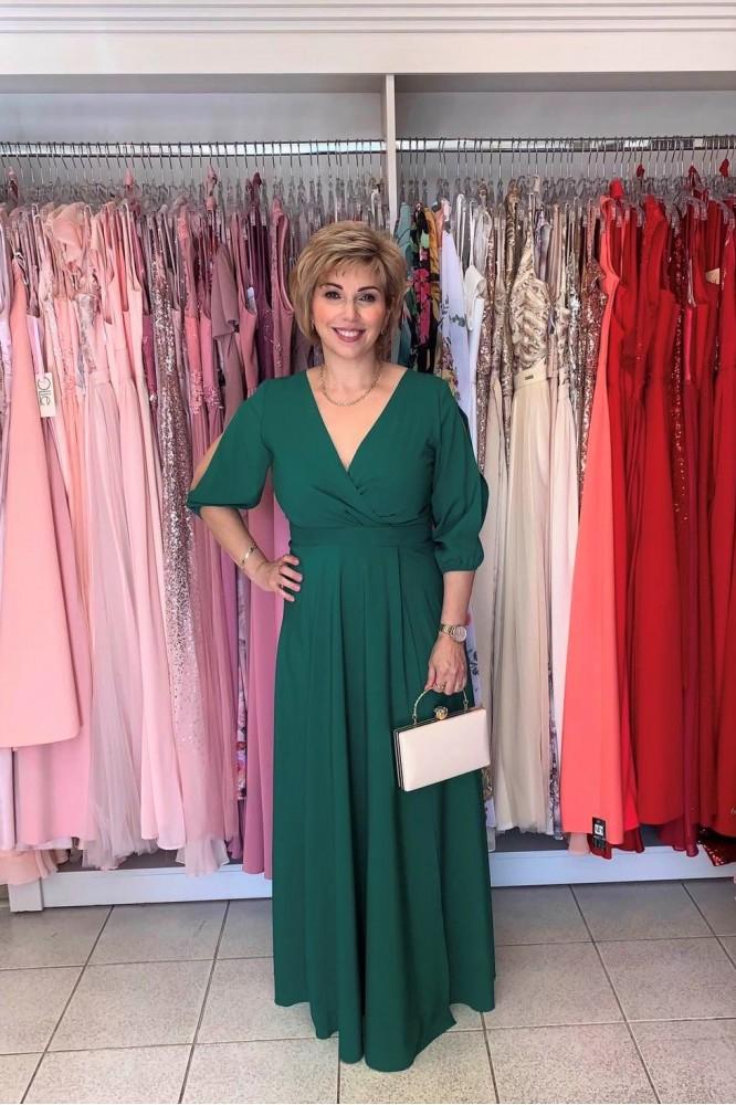 Spoločenské zelené šaty s rukávom plus size