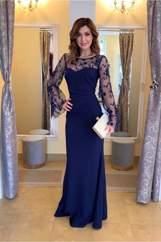 Dlhé modré priliehavé šaty s rukávom