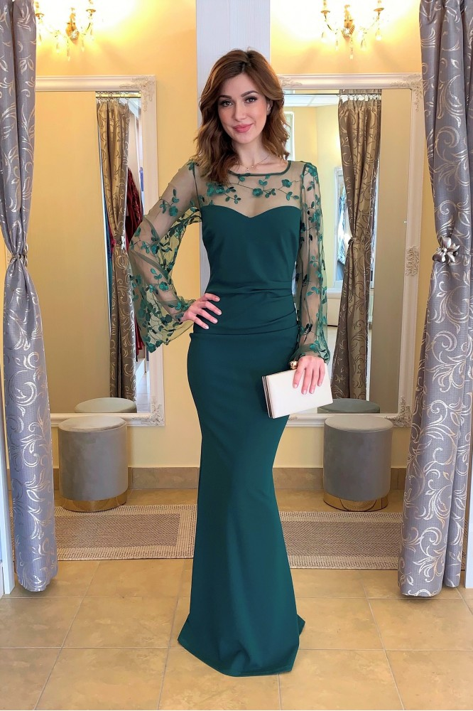 Dlhé zelené priliehavé šaty s rukávom