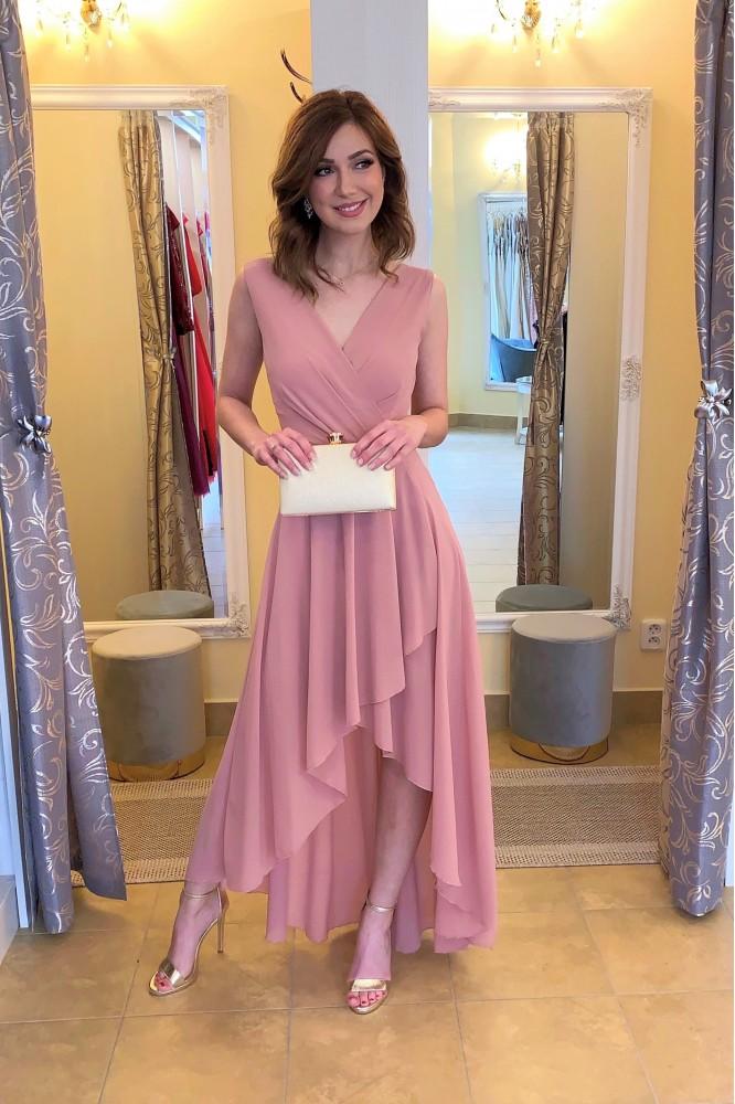 Ružové asymetrické šifónové šaty