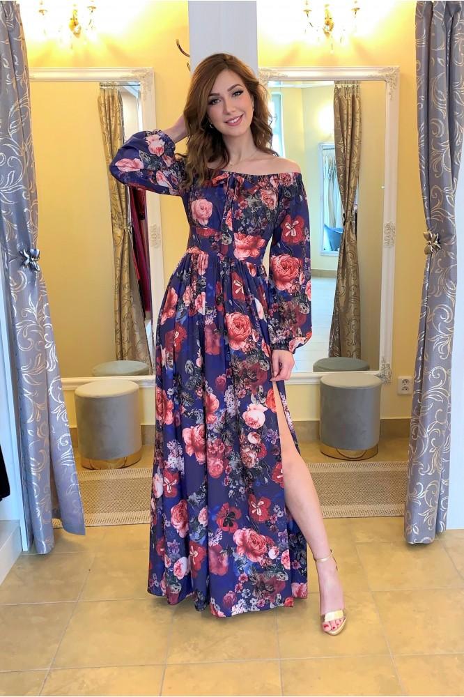 Modré kvetované šaty s odhalenými ramenami