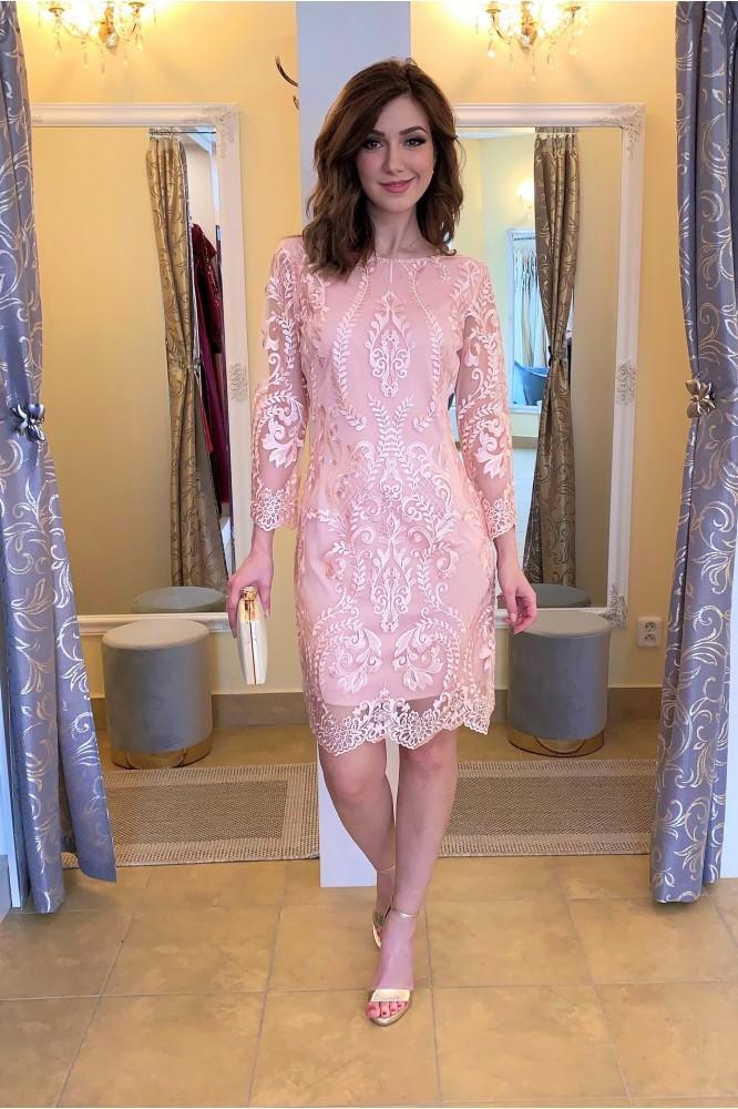 Ružové elegantné krátke šaty s krajkou