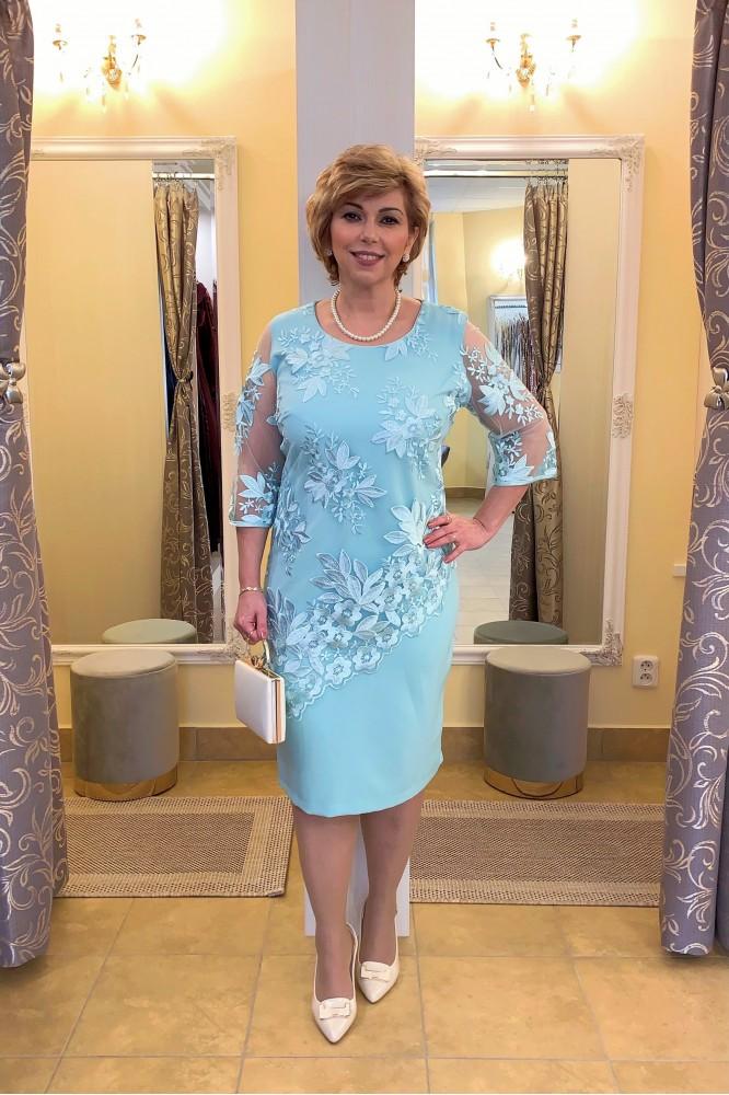 Mentolovo-modré šaty s krajkou svadobná mama