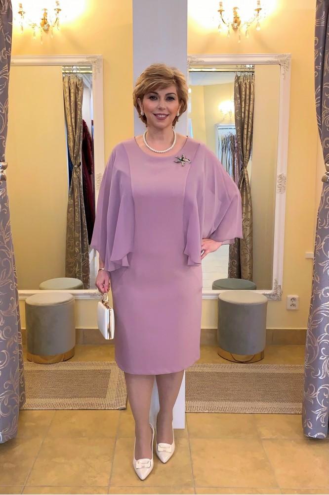 Spoločenské fialovo-ružové šaty so šifónovým rukávom