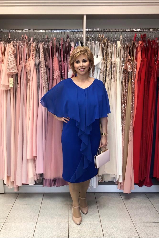 Modré spoločenské šaty so šifónovým volánom