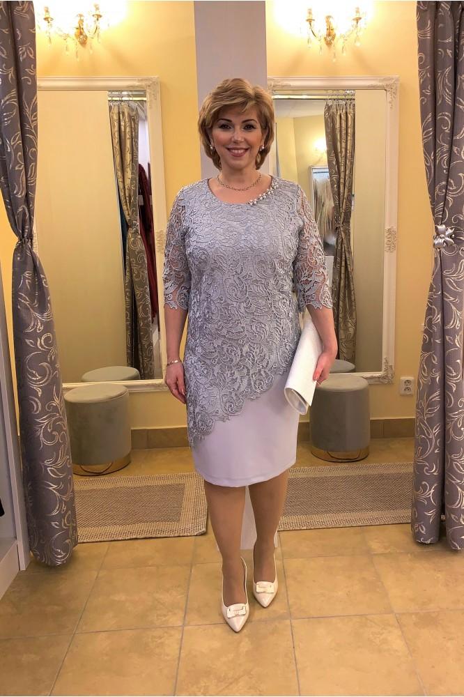 Krátke sivé šaty s čipkou svadobná mama