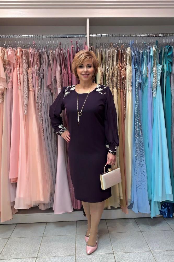 Puzdrové fialové  šaty s dlhým rukávom