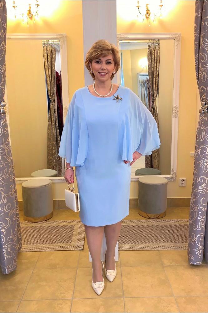 Modré elegantné šaty so šifónovým voľným rukávom