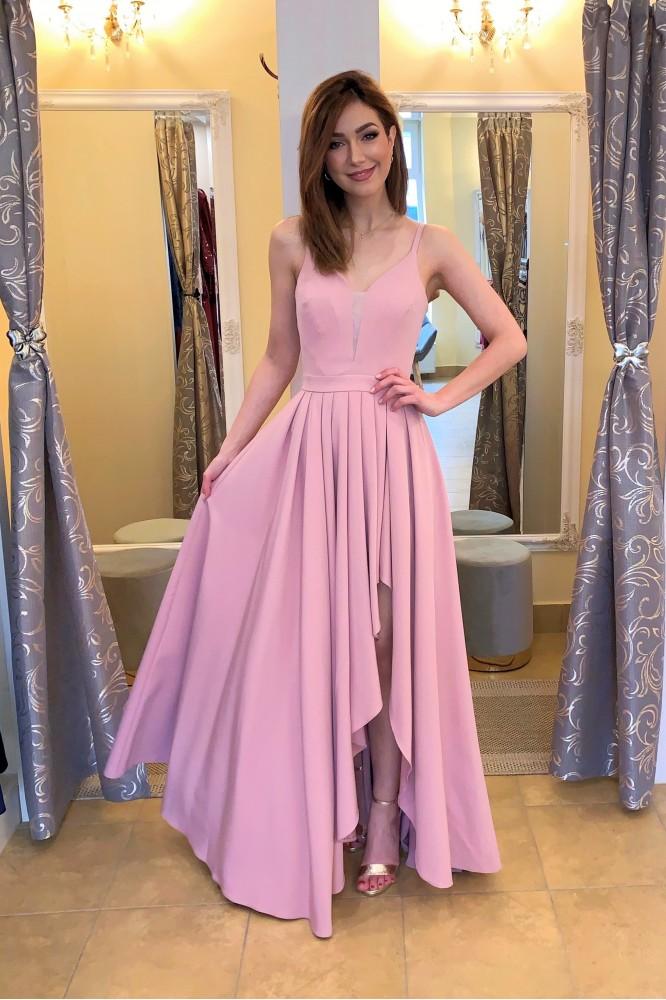 Dlhé ružovo-fialové spoločenské šaty