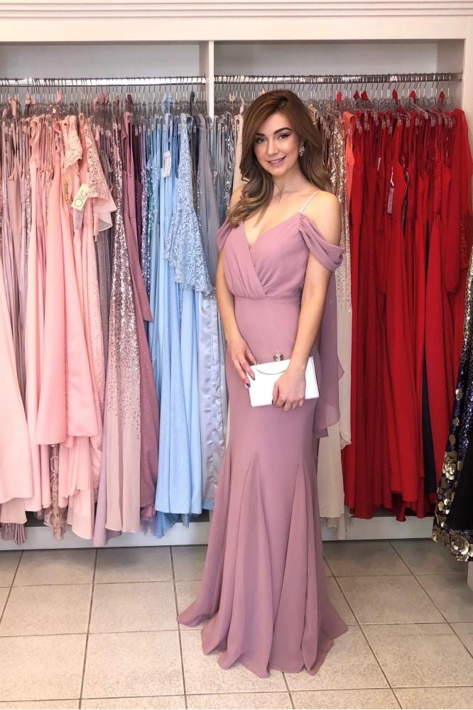 Fialovo-ružové dlhé šifónové šaty
