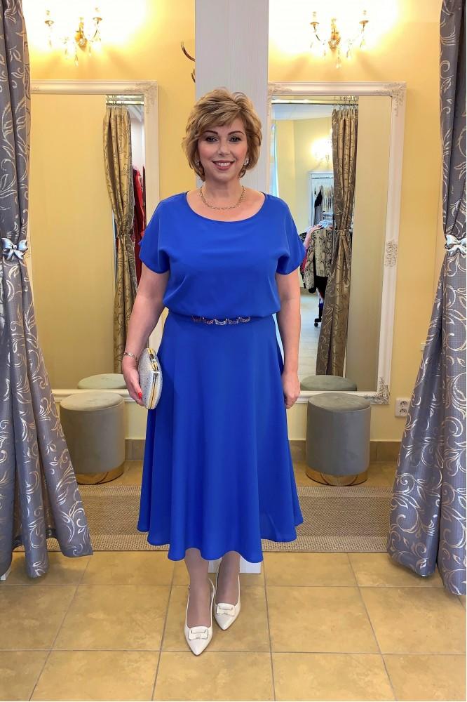 Modré áčkové midi šaty so striebornou aplikáciou