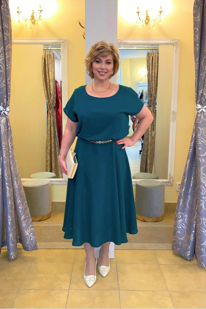 Zelené áčkové midi šaty so zlatou aplikáciou