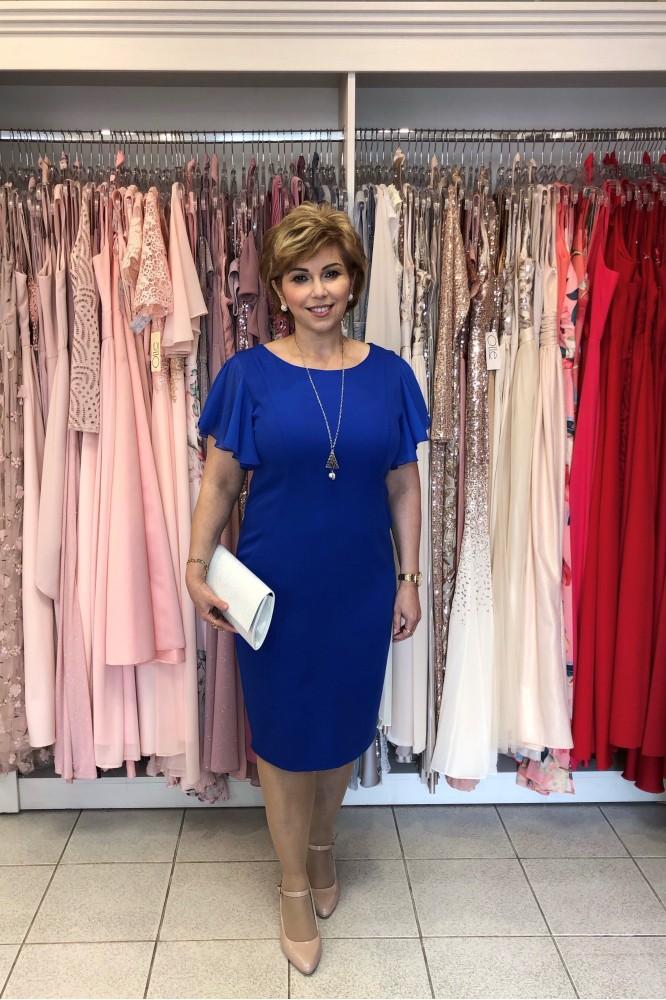 Puzdrové modré spoločenské šaty