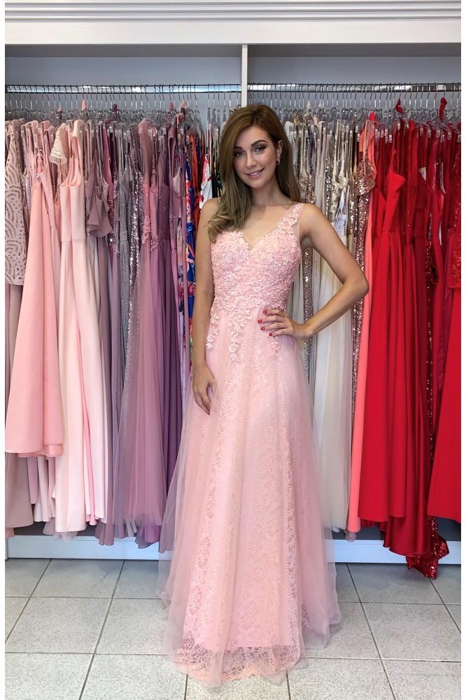 Dlhé svetlo ružové tylové šaty s krajkou