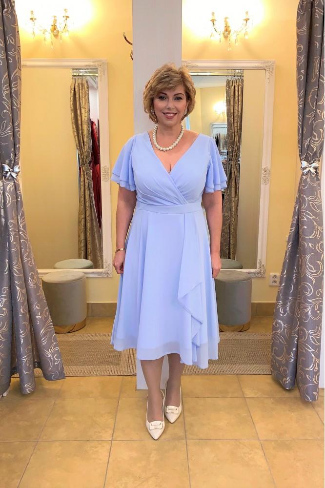 Modré spoločenské midi šaty zo šifónu