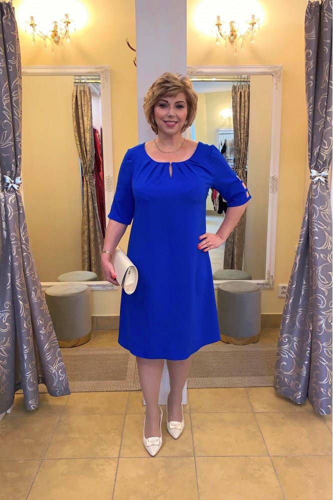 Modré spoločenské šaty áčkového strihu