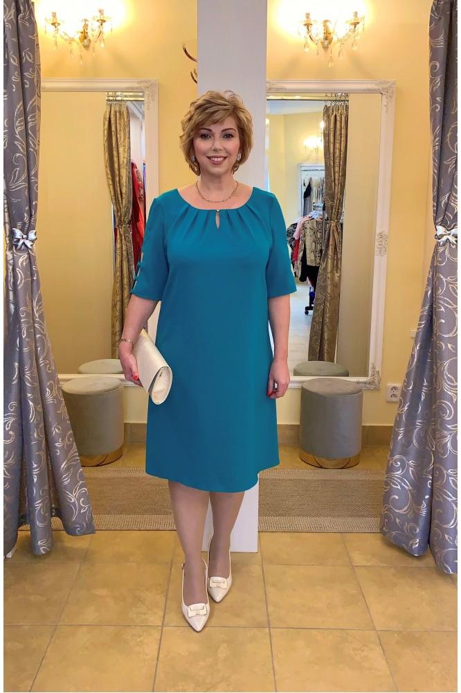 Smaragdové krátke šaty áčkového strihu