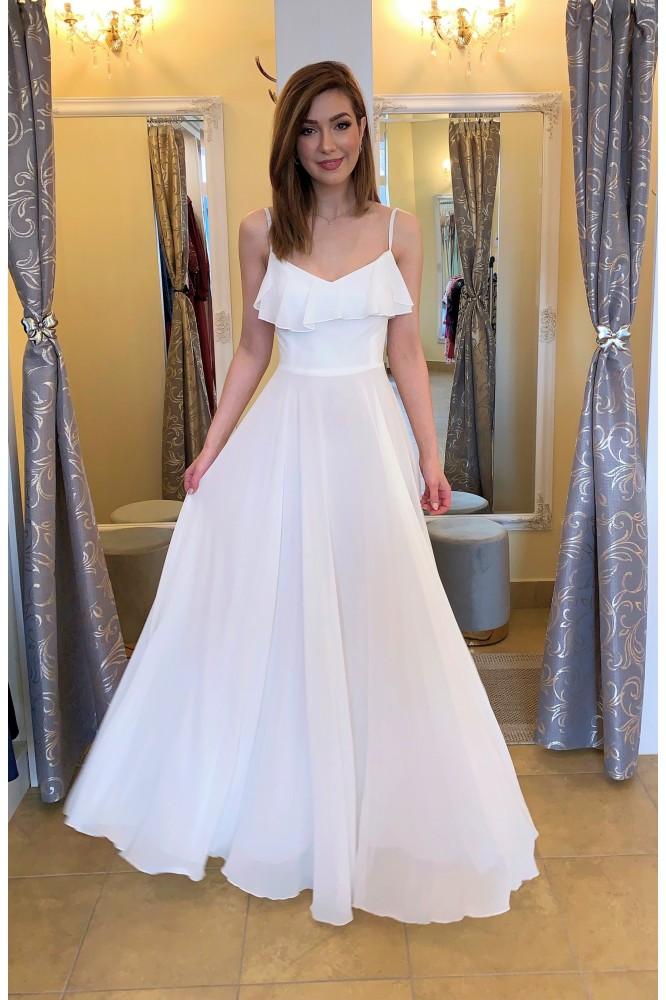 Dlhé biele spoločenské šaty s volánom bride